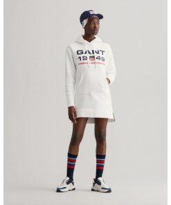 Gant Woman Retro Shield Hoodie Dress Eggshell