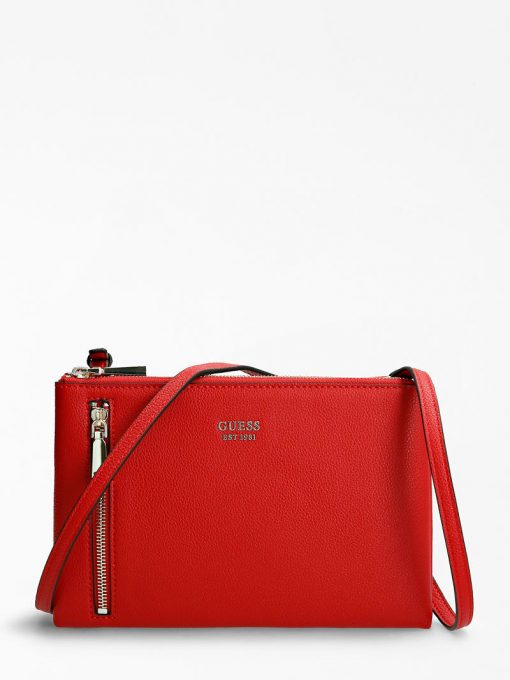 Guess Naya Double Zip Crossbody Bag Red