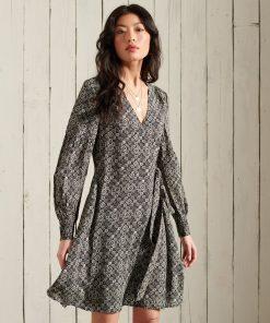 Superdry Bohemian Wrap Dress Black Print