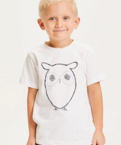 Knowledge Cotton Apparel Flax Owl Tee Bright White