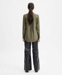 Selected Femme Ella-Odette AOP Shirt Kalamata Green