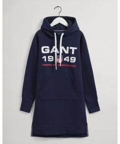 Gant Woman Retro Shield Hoodie Dress Classic Blue