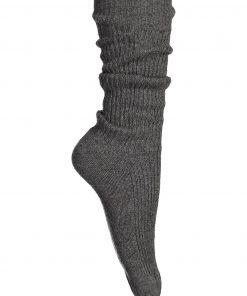 Balmuir Berry Ribbed Kashmir Socks Grey Melange