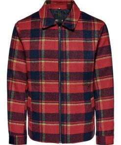Only & Sons Fischer Check Overshirt Sun-Dried Tomato