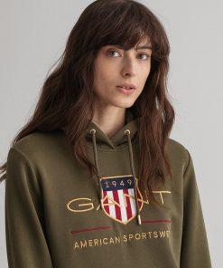 Gant Woman Archive Shield Hoodie Dress Racing Green