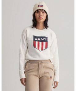 Gant Woman Retro Shield Crew Neck Sweatshirt Eggshell