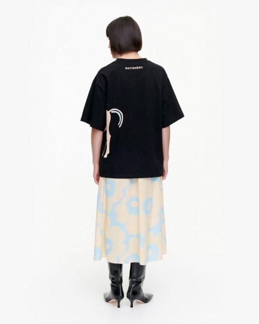 Marimekko Helmihopea Musta Tamma T-shirt Black