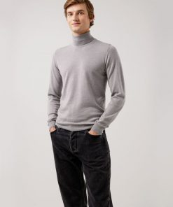 J.Lindeberg Lyd Merino Turtle Neck Sweater Grey Melange