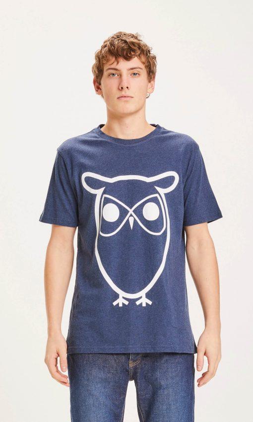 Knowledge Cotton Apparel Alder Basic Owl Tee Blue