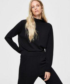 Selected Femme Sandra Merino Wool Jumper Black