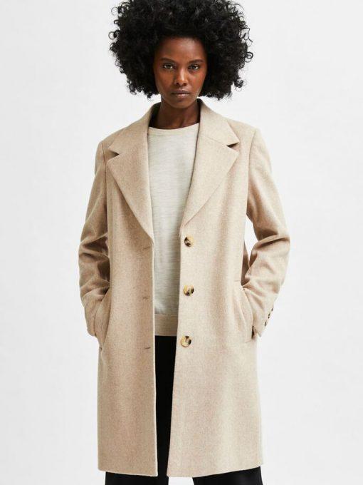 Selected Femme New Sasja Wool Blend Coat Beige