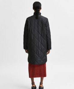 Selected Femme Naddy Quilted Coat Black