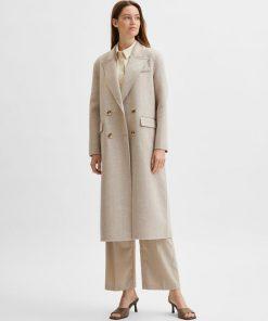 Selected Femme Tama Long Wool Coat Beige