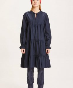 Knowledge Cotton Apparel Heather Dress Total Eclipse
