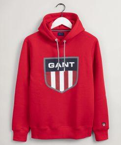 Gant Retro Shield Sweat Hoodie Bright Red