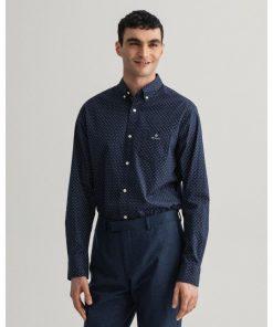 Gant Regular Fit Micro Paisley Oxford Shirt Evening Blue