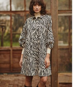 Part Two Eleina Dress Cement Zebra Print