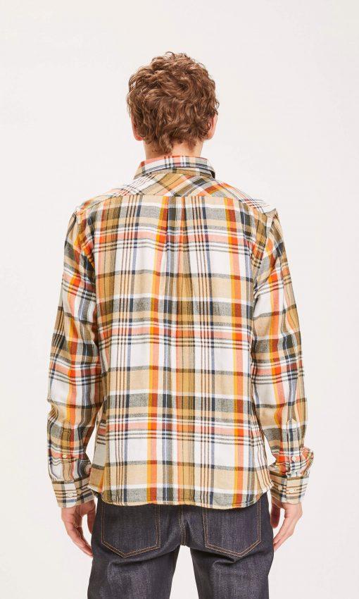 Knowledge Cotton Apparel Big Checked Shirt Orange