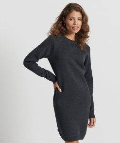 Superdry Organic Cotton Essential Knitted Dress Tar Marl
