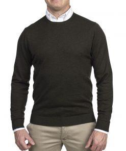 Hansen & Jacob Crewneck Sweater Alcantara E-P Dark Green