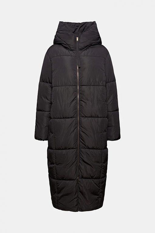 Esprit Long Quilted Coat Black