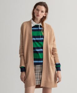 Gant Woman Long Wool Cardigan Khaki Melange