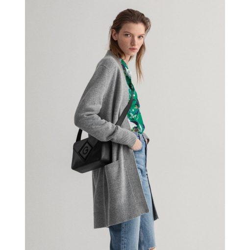 Gant Woman Long Wool Cardigan Grey Melange