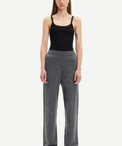Samsoe & Samsoe Amaris Straight Trousers Dark Grey Melange