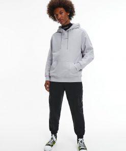 Calvin Klein Micro Branding Hoodie Marble Grey