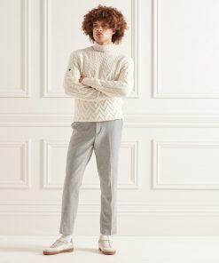 Superdry Studios Cable Knit Jumper Off White