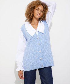 Envii Enetna Knit Vest Colony Blue Melange